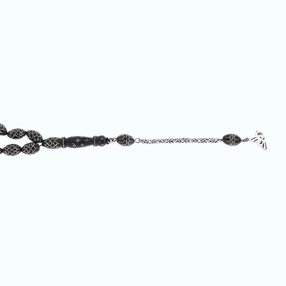Black Coral Rosaries Zaitounah 9 * 14 ml Embedded With Silver 925