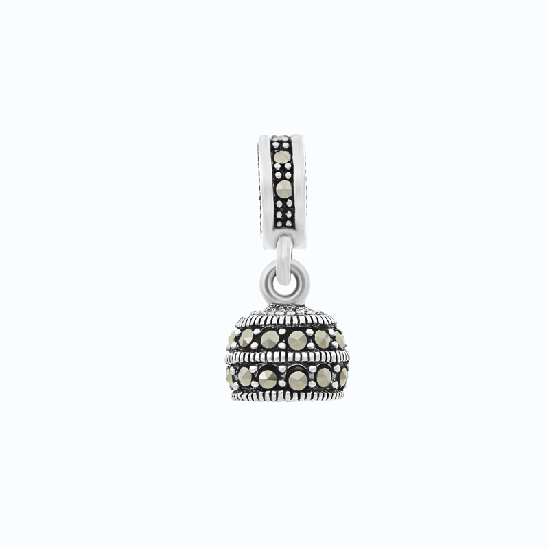 Sterling Silver 925 Charm Embedded With Marcasite Stones