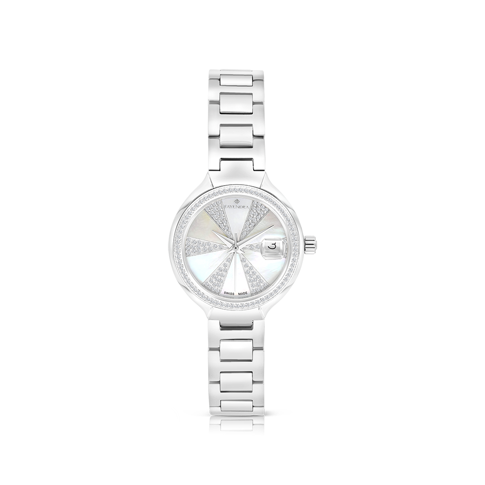 Stainless Steel 316L Watch, Rhodium Plated,Embedded With Natural Diamonds, MOP Dial