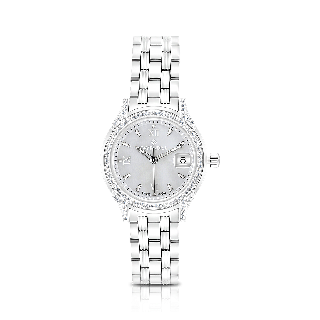 Stainless Steel 316L Watch, Rhodium Plated,Embedded With Natural Diamonds, MOP Dial ,For Women