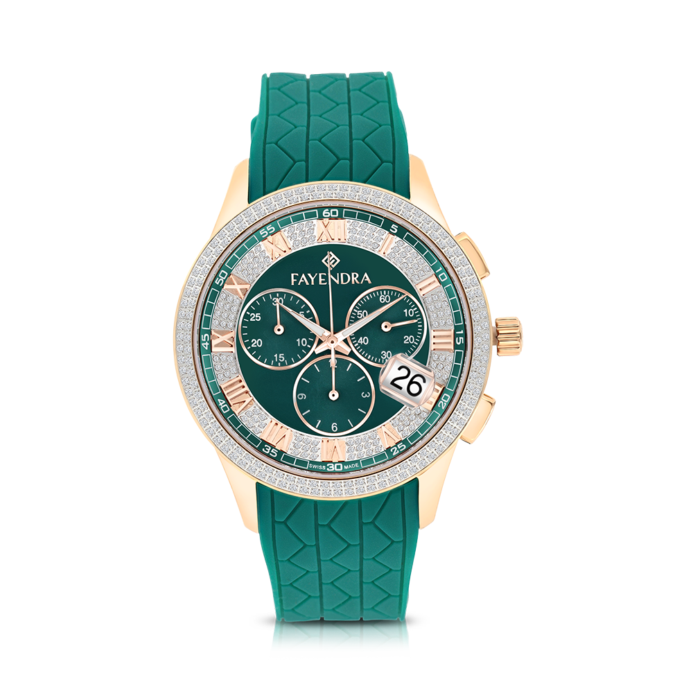 Stainless Steel 316L Watch Rose Gold Plated, Green Rubber, Green Dial ,For Men