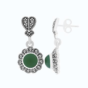 Sterling Silver 925 Earring Embedded With Natural Green Agate And Marcasite Stones