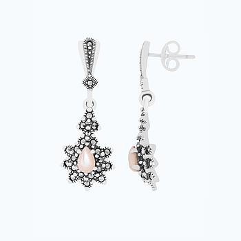 Sterling Silver 925 Earring Embedded With Natural Pink Shell And Marcasite Stones