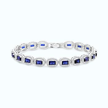 Sterling Silver 925 Bracelet Rhodium Plated Embedded With Sapphire Corundum