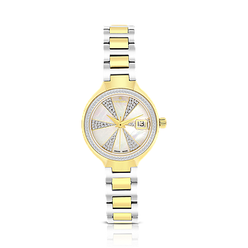 Stainless Steel 316L Watch, Rhodium And Gold Plated,For Women,Embedded With Natural Diamonds, MOP Dial
