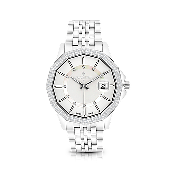 Stainless Steel 316L Watch, Rhodium Plated,Embedded With Natural Diamonds, MOP Dial ,For Men