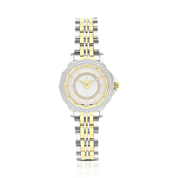 Stainless Steel 316L Watch, Rhodium And Gold Plated,For Women, MOP Dial