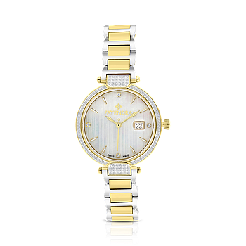Stainless Steel 316L Watch, Rhodium And Gold Plated, MOP Dial ,For Women